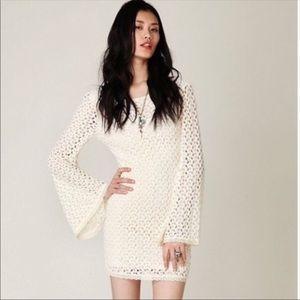 Free People Boho Crochet Bell Sleeve Dress